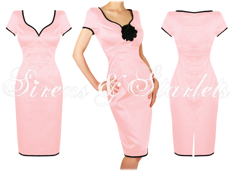 PINK FITTED CURVY 50'S ROCKABILLY PENCIL GALAXY DRESS