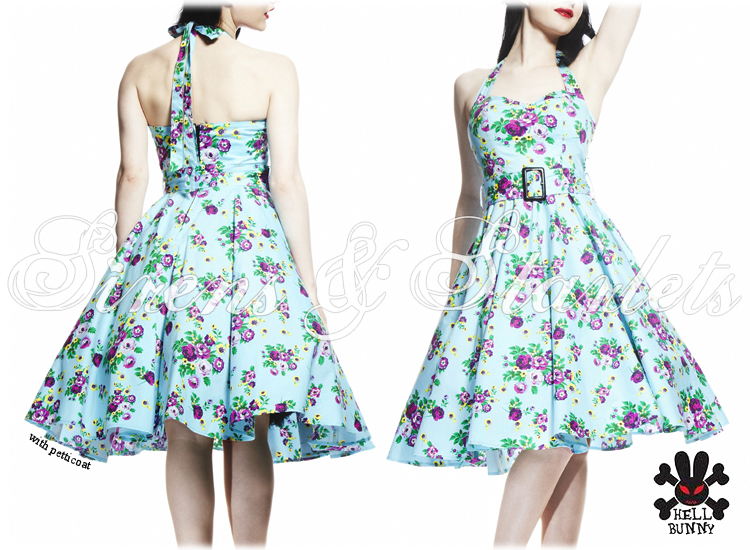 HELL BUNNY MAY DAY BLUE FLORAL 50S VTG SWING PROM DRESS