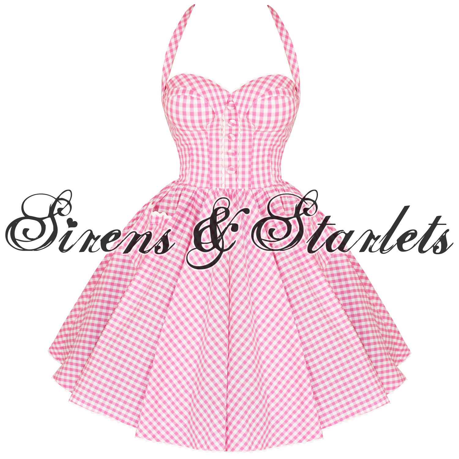 HELL BUNNY PENNY PINK GINGHAM 50S VTG SWING PROM DRESS