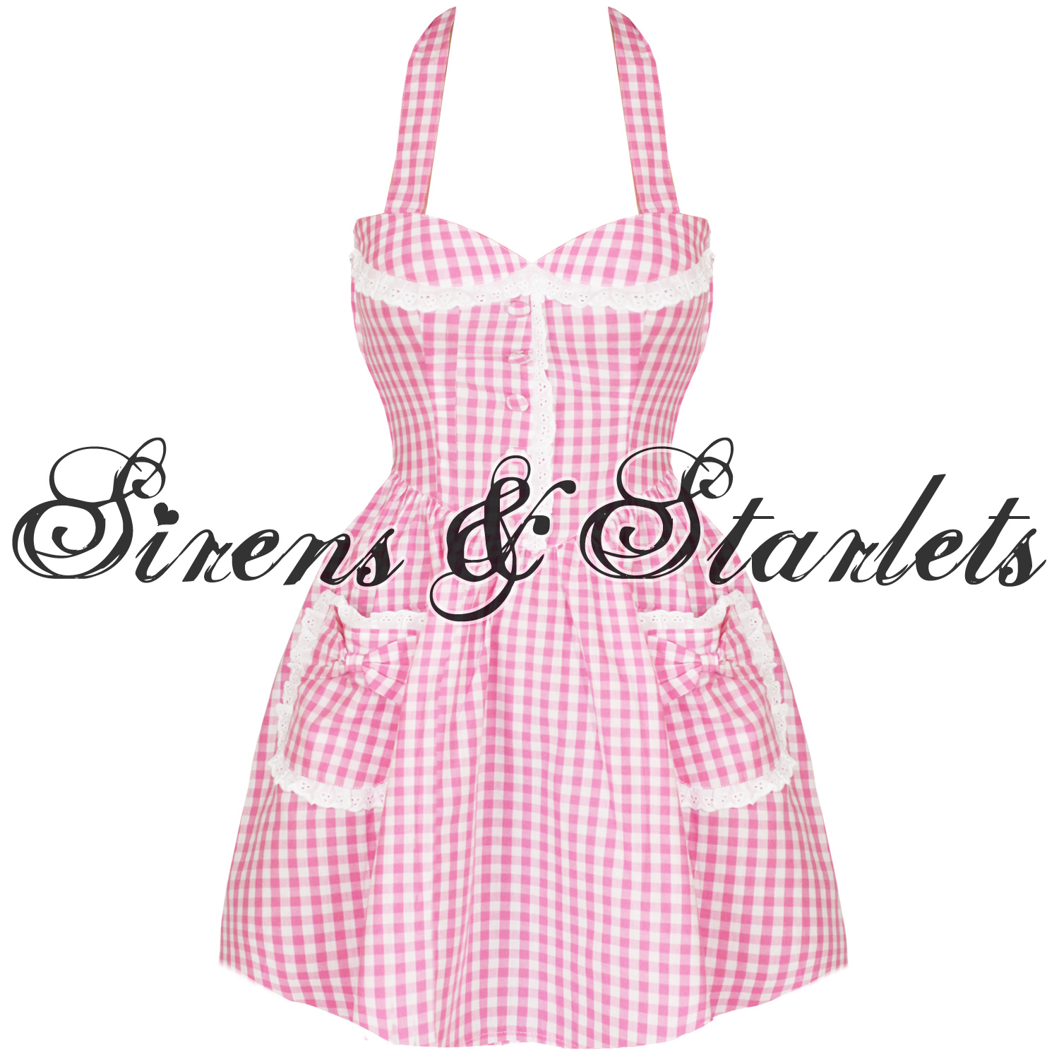 HELL-BUNNY-SHAY-PINK-GINGHAM-50S-VTG-MINI-SUMMER-DRESS
