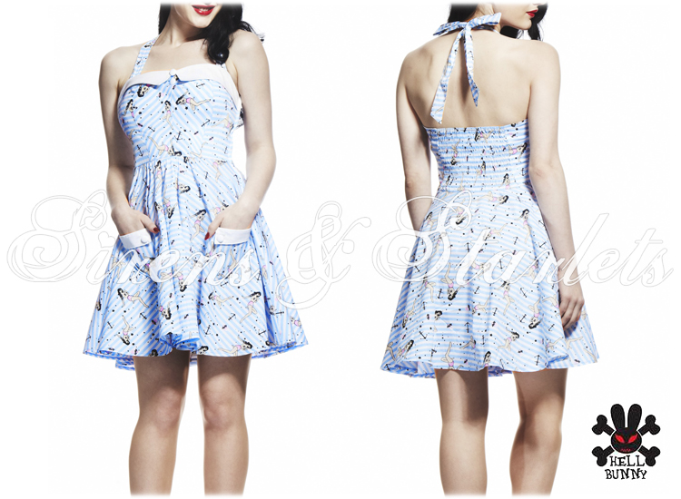 HELL BUNNY SELBY BLUE SAILOR ROCKABILLY STRIPE DRESS