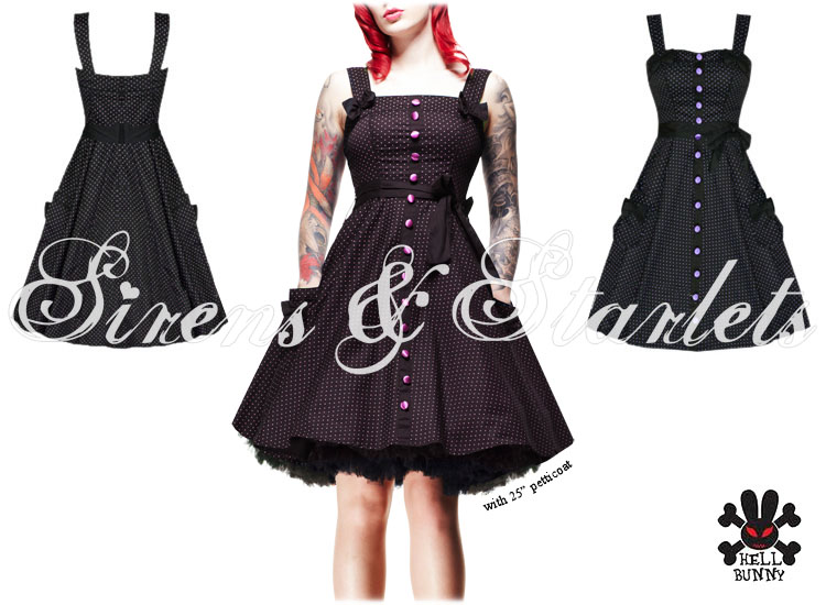 HELL BUNNY GERY BLACK POLKA DOT RETRO PINUP PROM DRESS