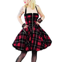 Hell Bunny Red Tartan Zip Punk Emo Prom Party Dress