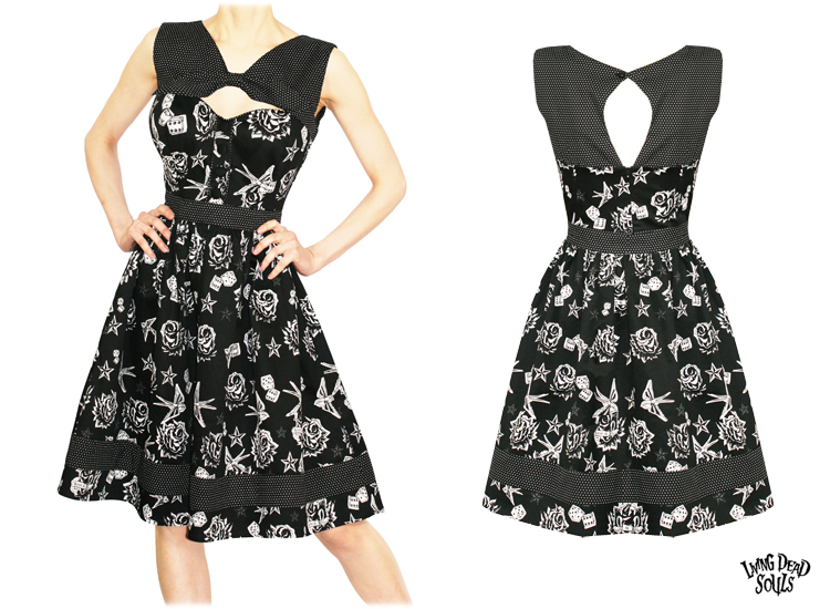 Living Dead Souls New Ladies Rockabilly Tattoo Vintage 50S Party Prom Dress