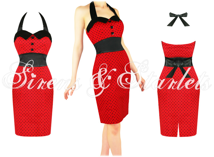 RED POLKA DOT FITTED VTG 40S 50S WIGGLE PENCIL DRESS
