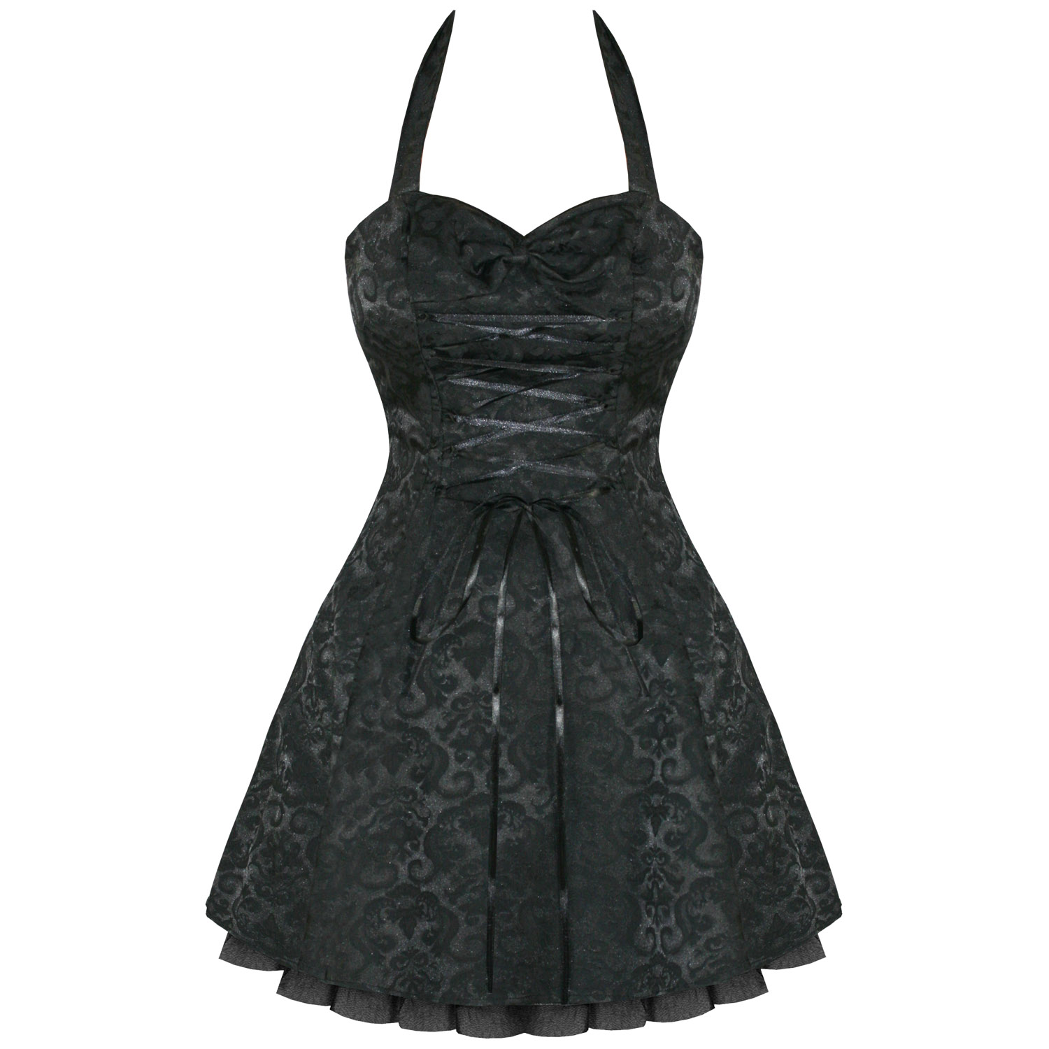 Black dress ebay - Image Is Loading Black Damask Gothic Steampunk Emo Party Prom Dress
