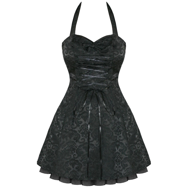 BLACK DAMASK GOTHIC STEAMPUNK EMO PARTY PROM DRESS | eBay