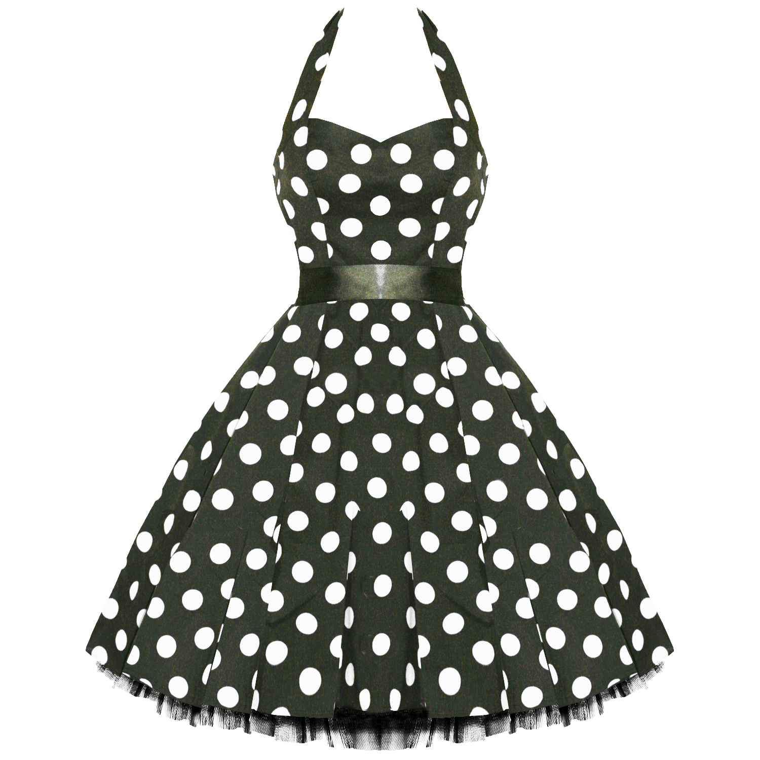 LADIES NEW BLACK POLKA DOT VTG 50S SWING PINUP PARTY PROM