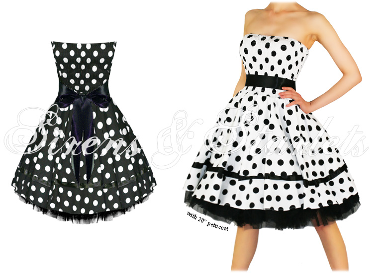 BLACK POLKA DOT VTG 50S SWING PINUP PARTY PROM DRESS
