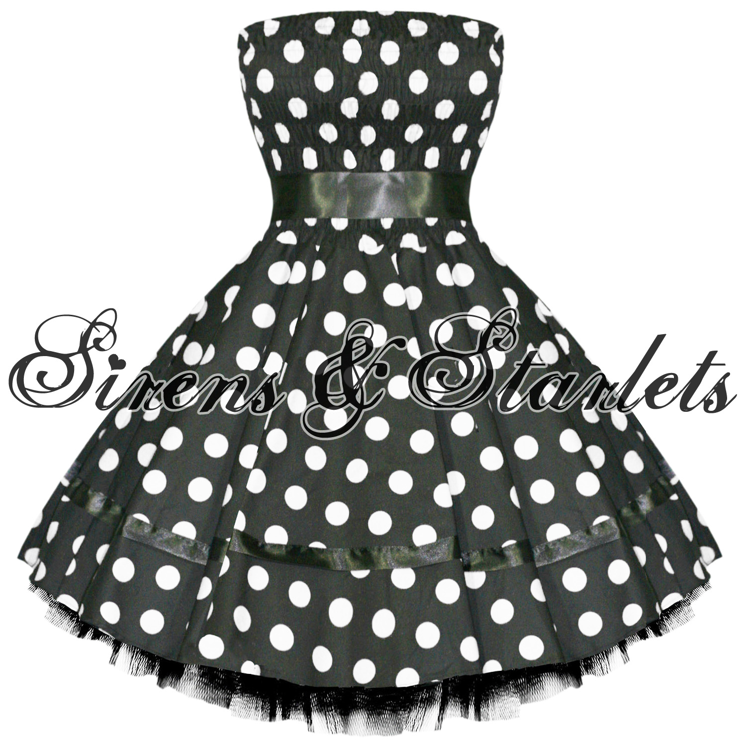 BLACK-POLKA-DOT-VTG-50S-SWING-PINUP-PARTY-PROM-DRESS