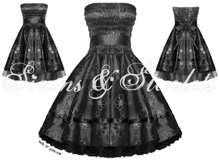 BLACK FLORAL GLITTER 50S PINUP PARTY PROM EVENING DRESS
