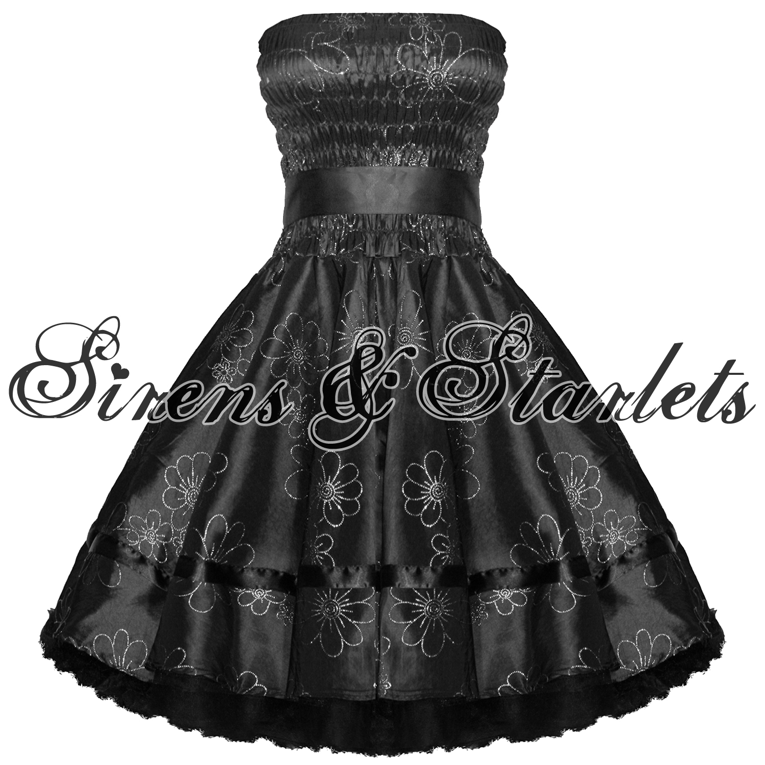 BLACK-FLORAL-GLITTER-50S-PINUP-PARTY-PROM-EVENING-DRESS