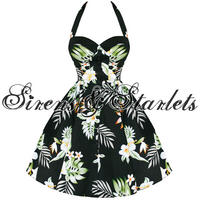 Hell Bunny Kiki Black Tropical Floral 50S Prom Dress