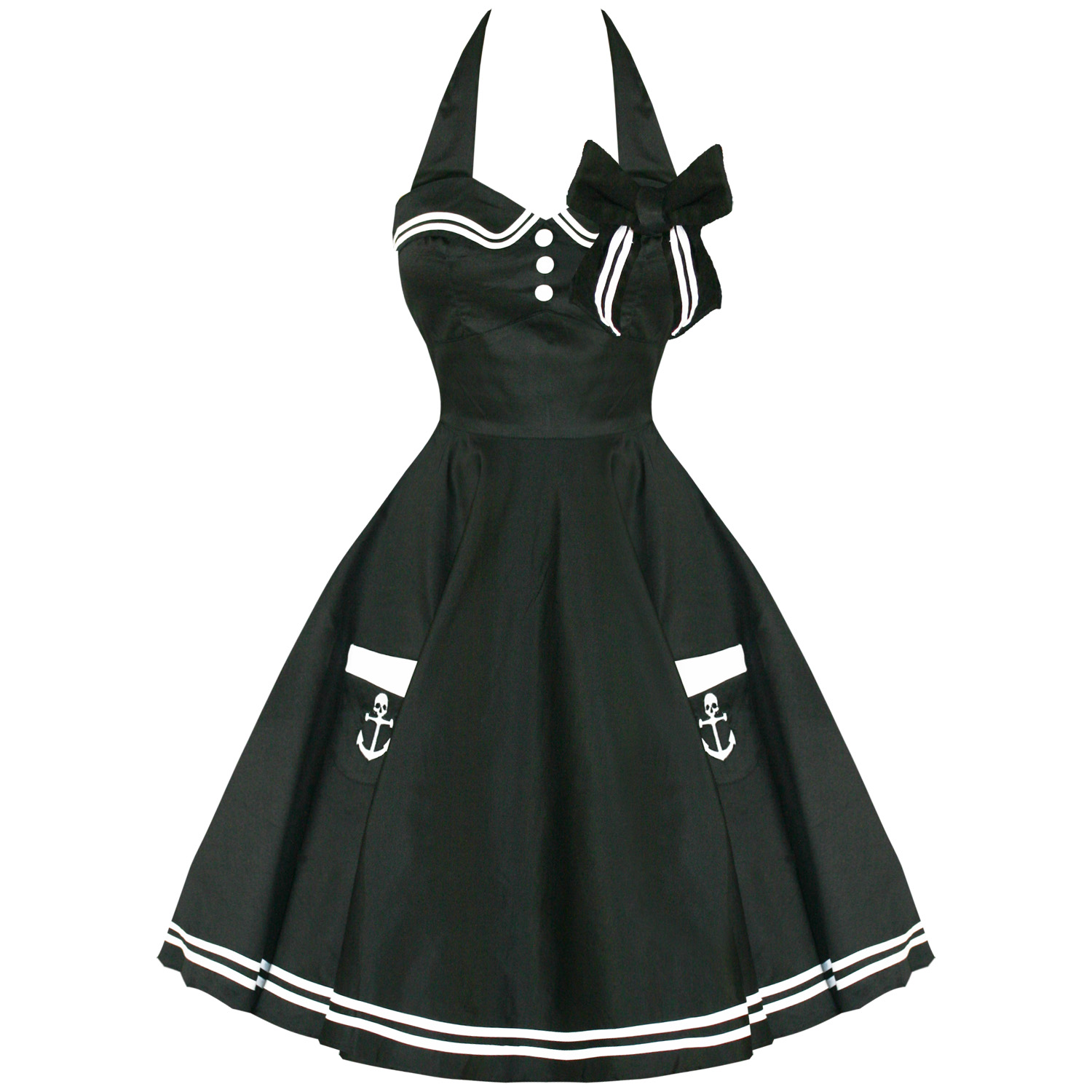 kleid damen hell bunny motley 50er schwarz rockabilly sailor pin up 1950er ebay. Black Bedroom Furniture Sets. Home Design Ideas