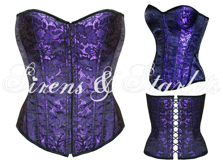 PURPLE-FLORAL-GOTHIC-VINTAGE-BURLESQUE-CORSET-BASQUE