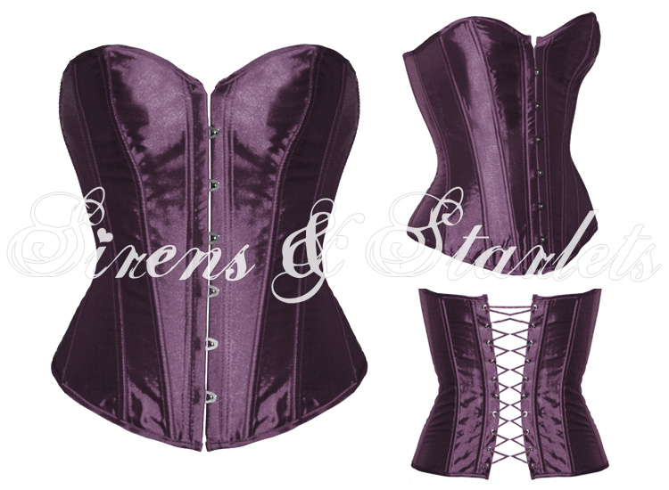 PURPLE SATIN GOTHIC BURLESQUE BASQUE CORSET BASQUE TOP