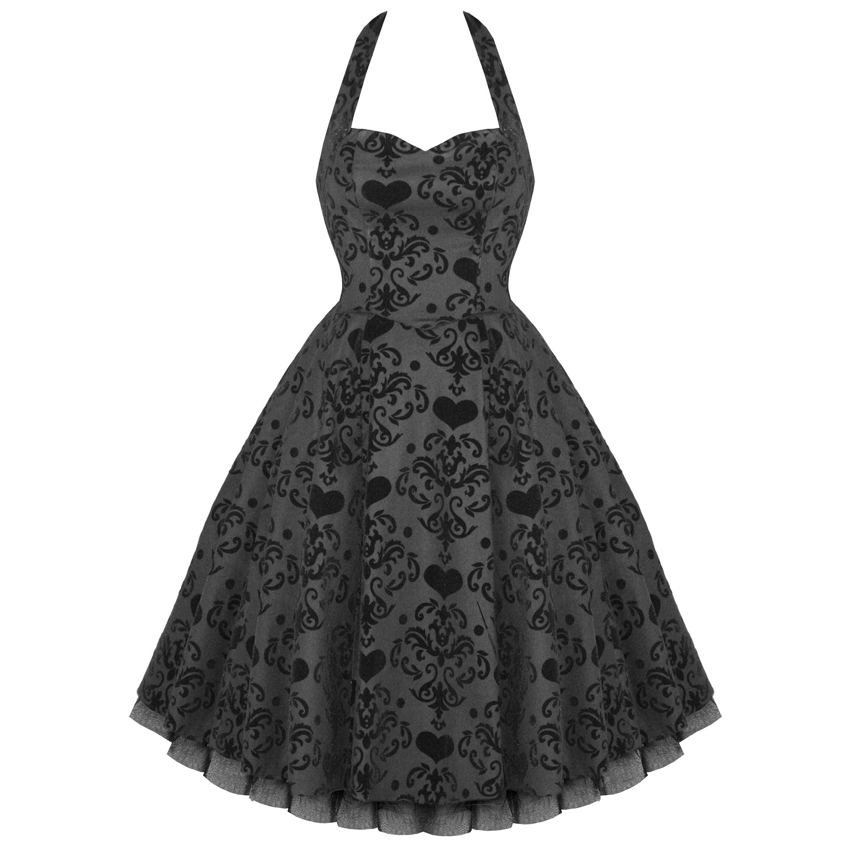 Ladies-New-Black-Heart-Velvet-Valentine-Vintage-50s-Style-Party-Prom-Dress