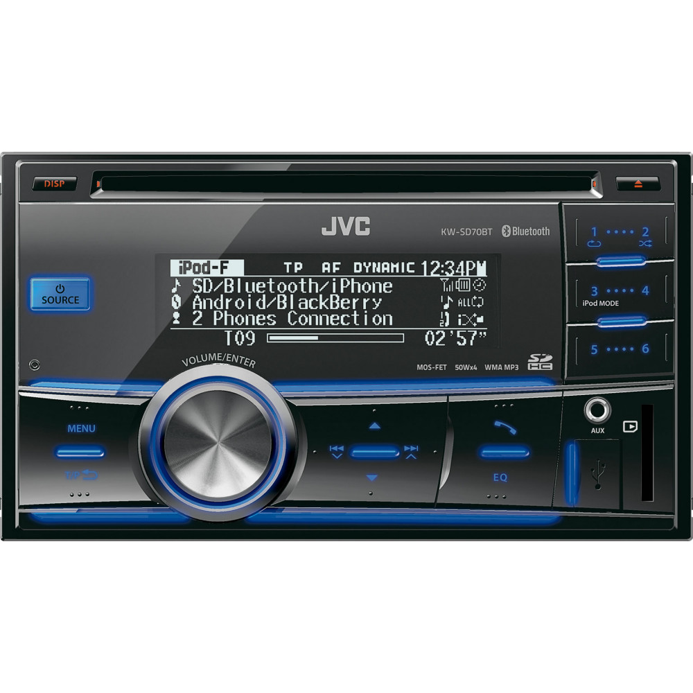 jvc kw sd70bt double din cd car stereo inc bluetooth usb. Black Bedroom Furniture Sets. Home Design Ideas