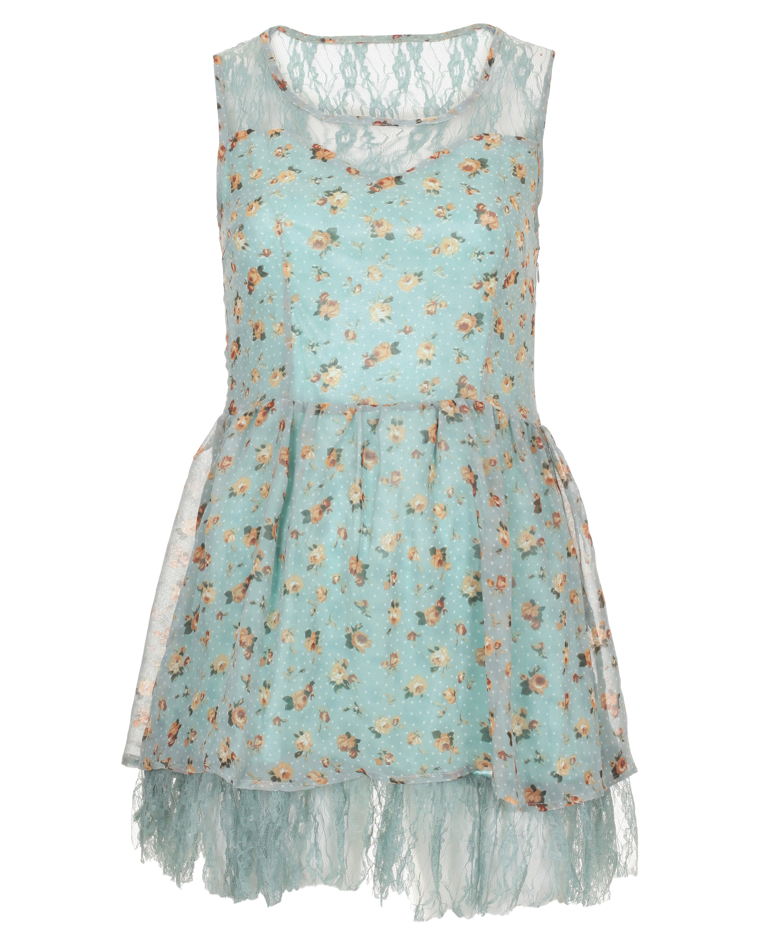 Blue-Inc-Womens-Sleeveless-Lace-Detail-Floral-Dress-Light-Green