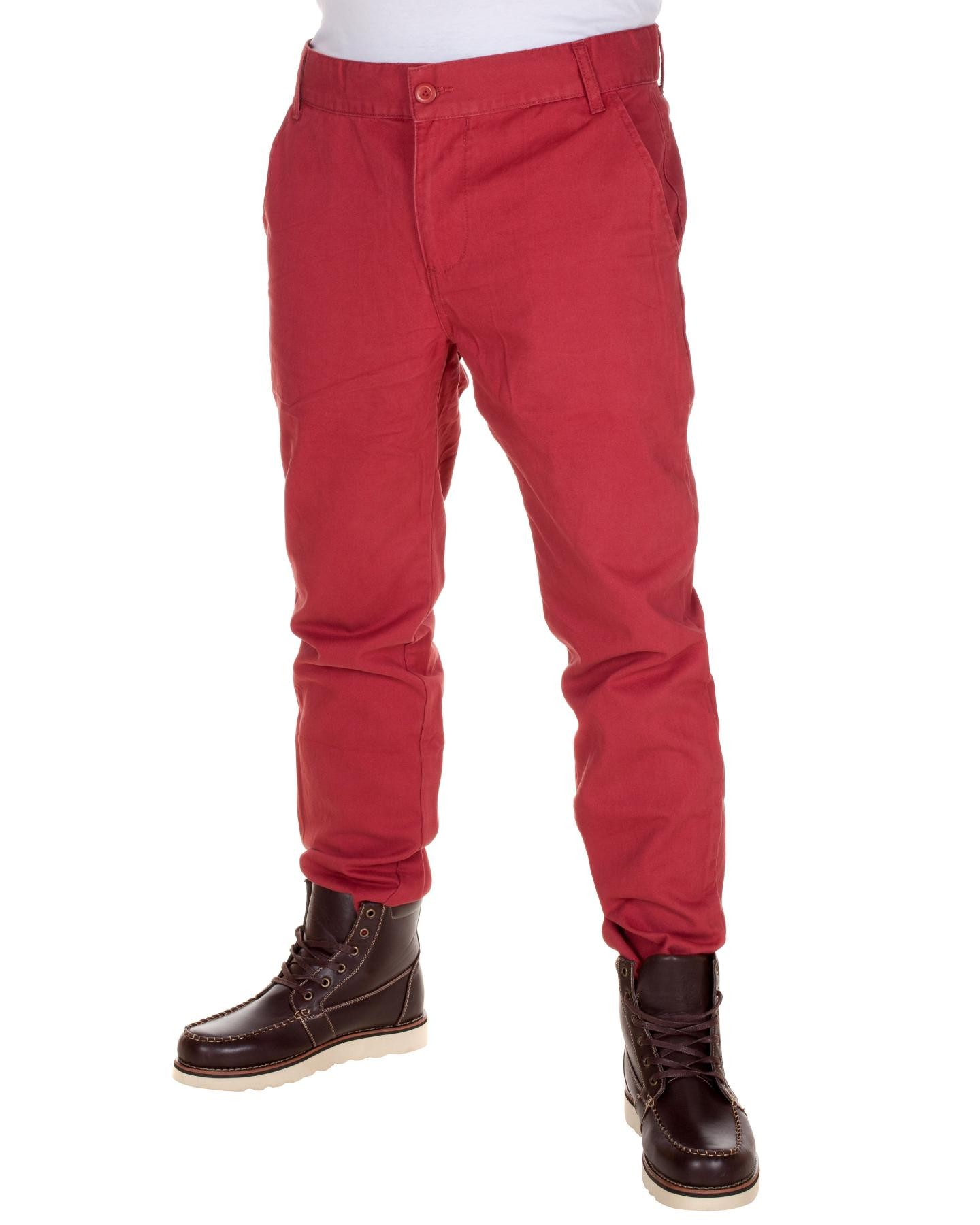 Blue-Inc-Mens-Basic-Twill-Chino-Style-Trousers-Red-Cotton