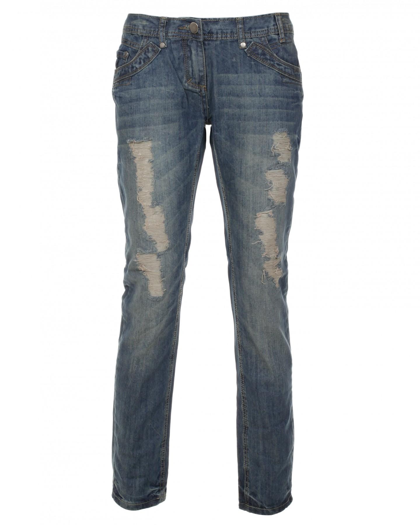 Blue Inc Womens Blue Ripped Denim Jeans   eBay