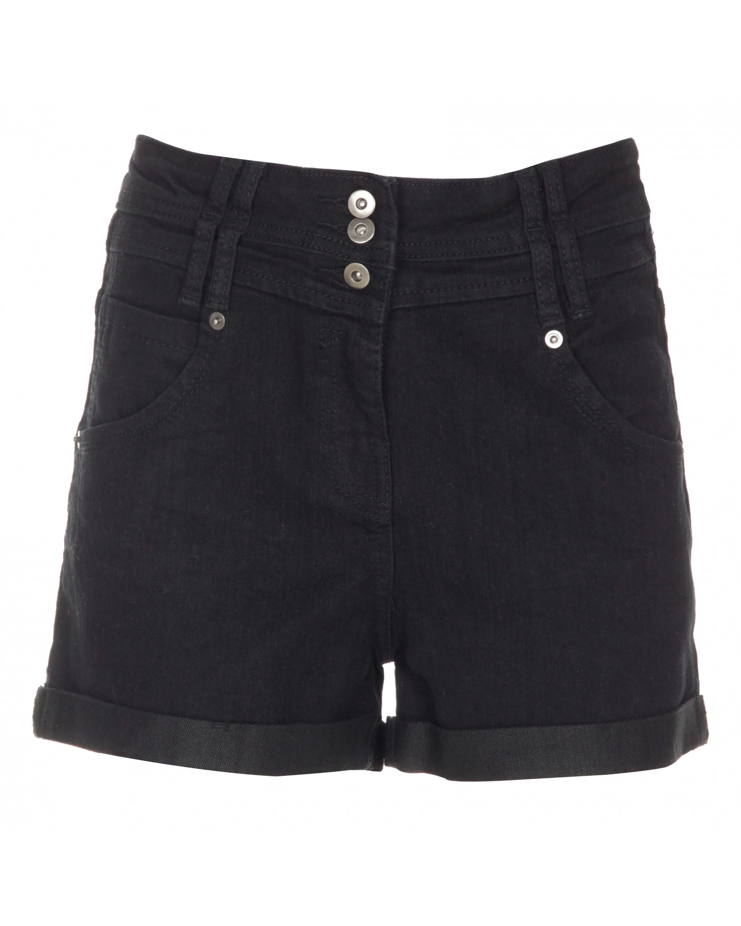 Blue-Inc-Womens-High-Waist-Denim-Shorts-Black