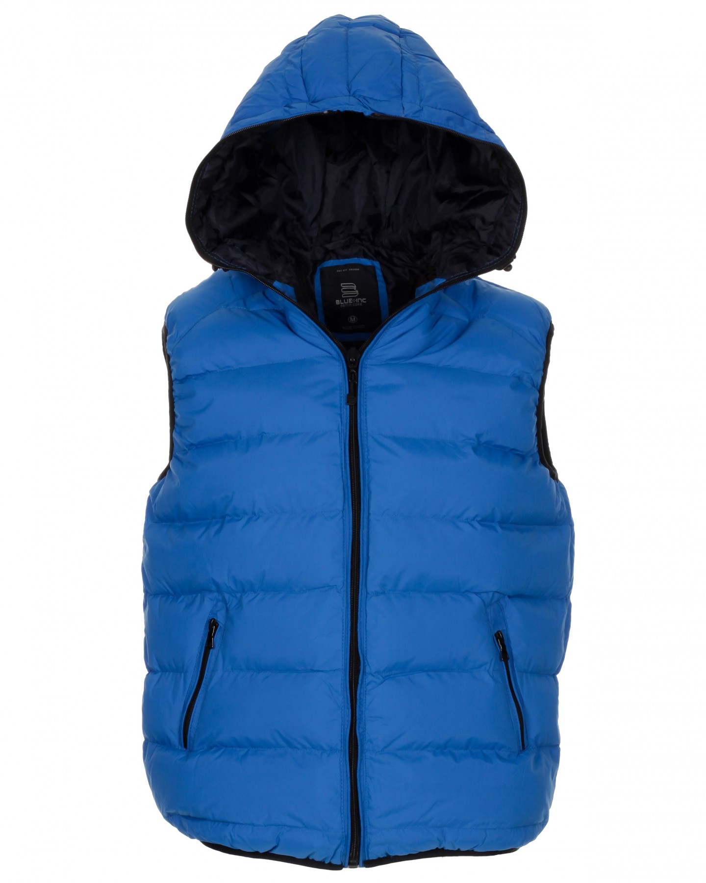 Blue-Inc-Mens-Hooded-Zip-up-Urban-Gilet-Cobalt-Blue