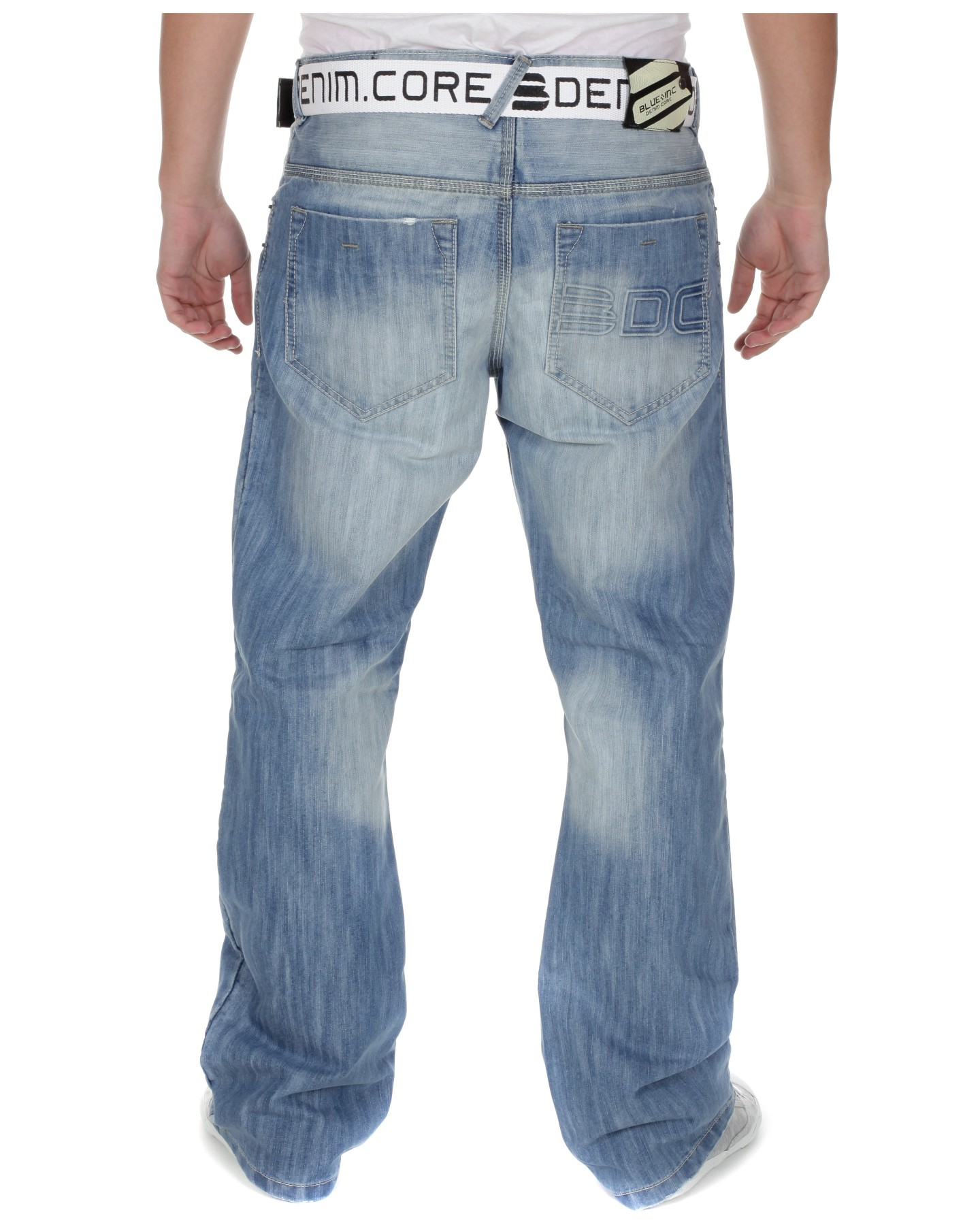 Blue Inc Mens DNM Core Bootcut Jeans Light Blue | eBay
