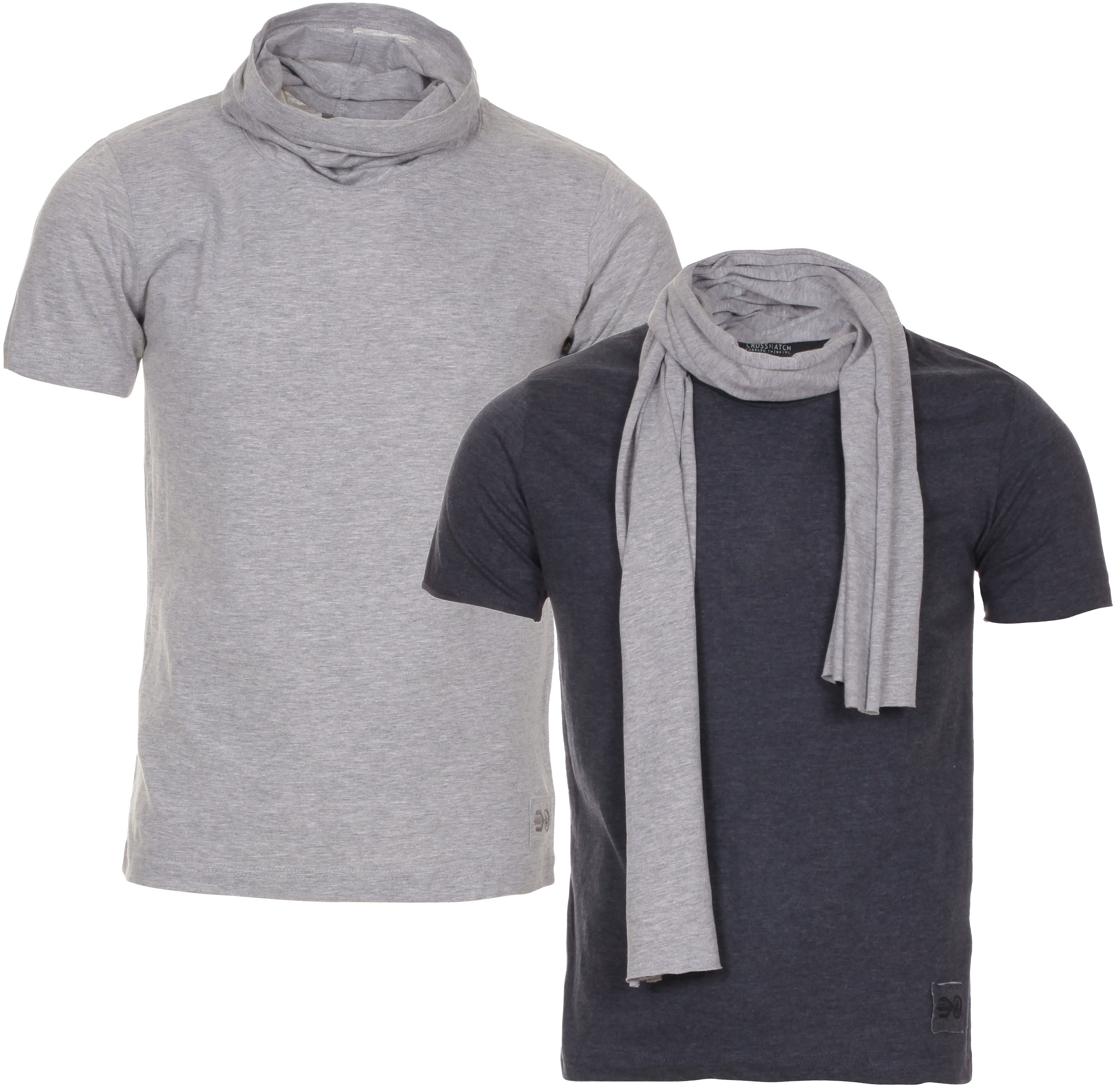 Blue Inc Mens Crosshatch Assorted 2 Pack Cowl and Scarf Neck T Shirt Deal Enlarged Preview