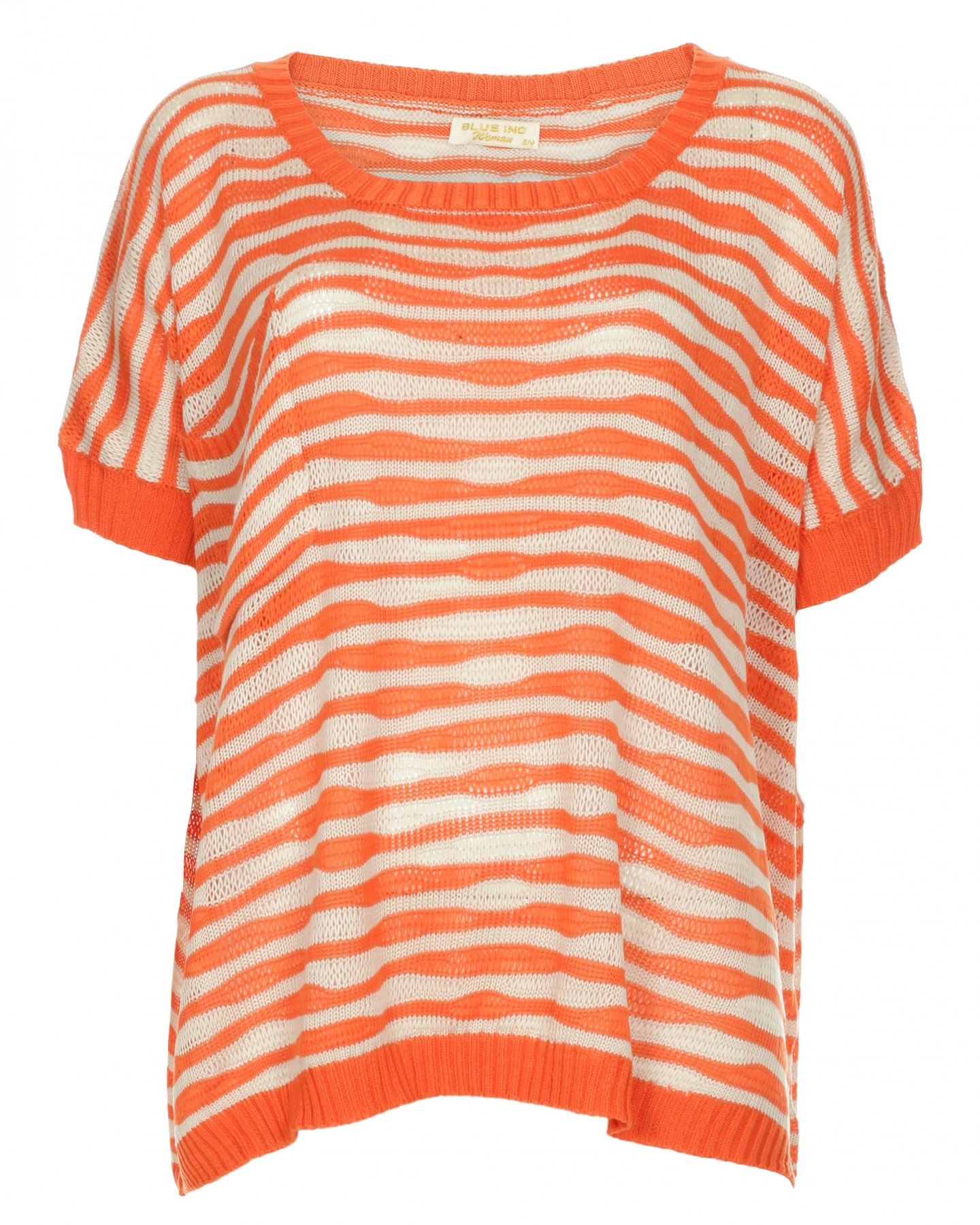 Blue-Inc-Womens-Wavy-Stripes-Short-Sleeve-Pullover-Orange