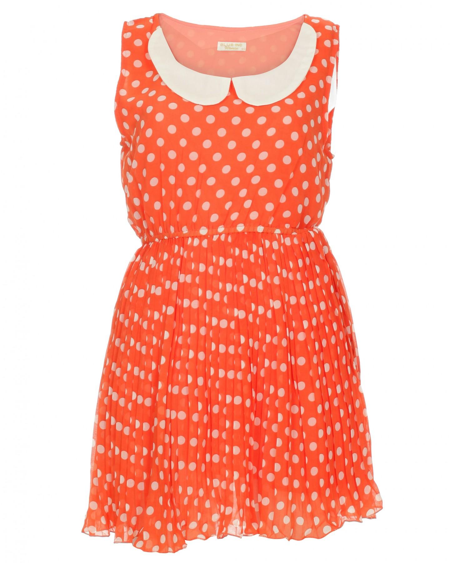 Blue-Inc-Womens-Peter-Pan-Polka-Dot-Dress-Orange