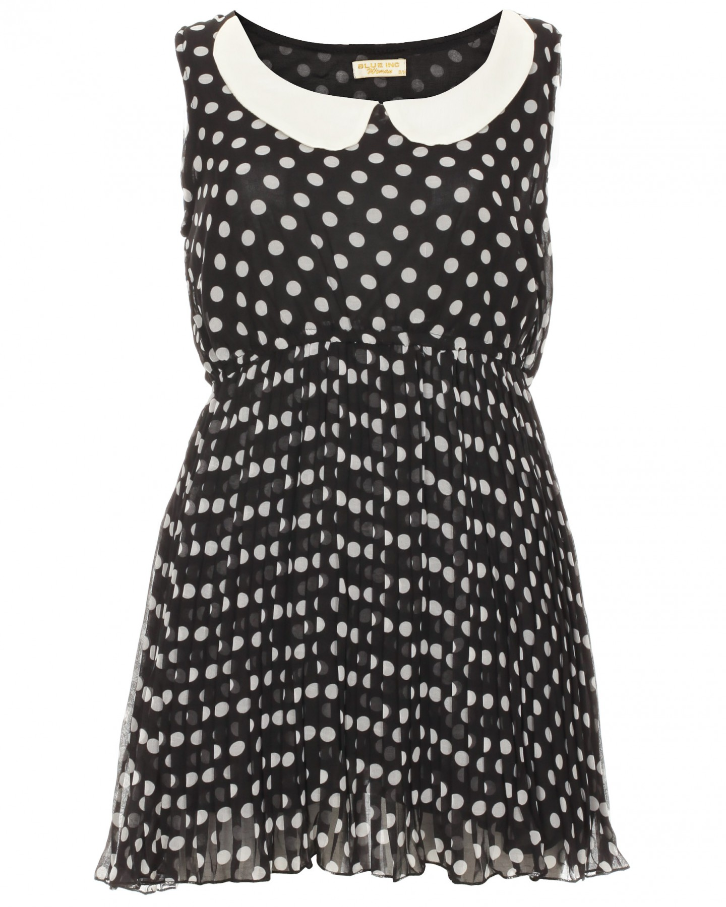 Blue-Inc-Womens-Peter-Pan-Polka-Dot-Dress-Black