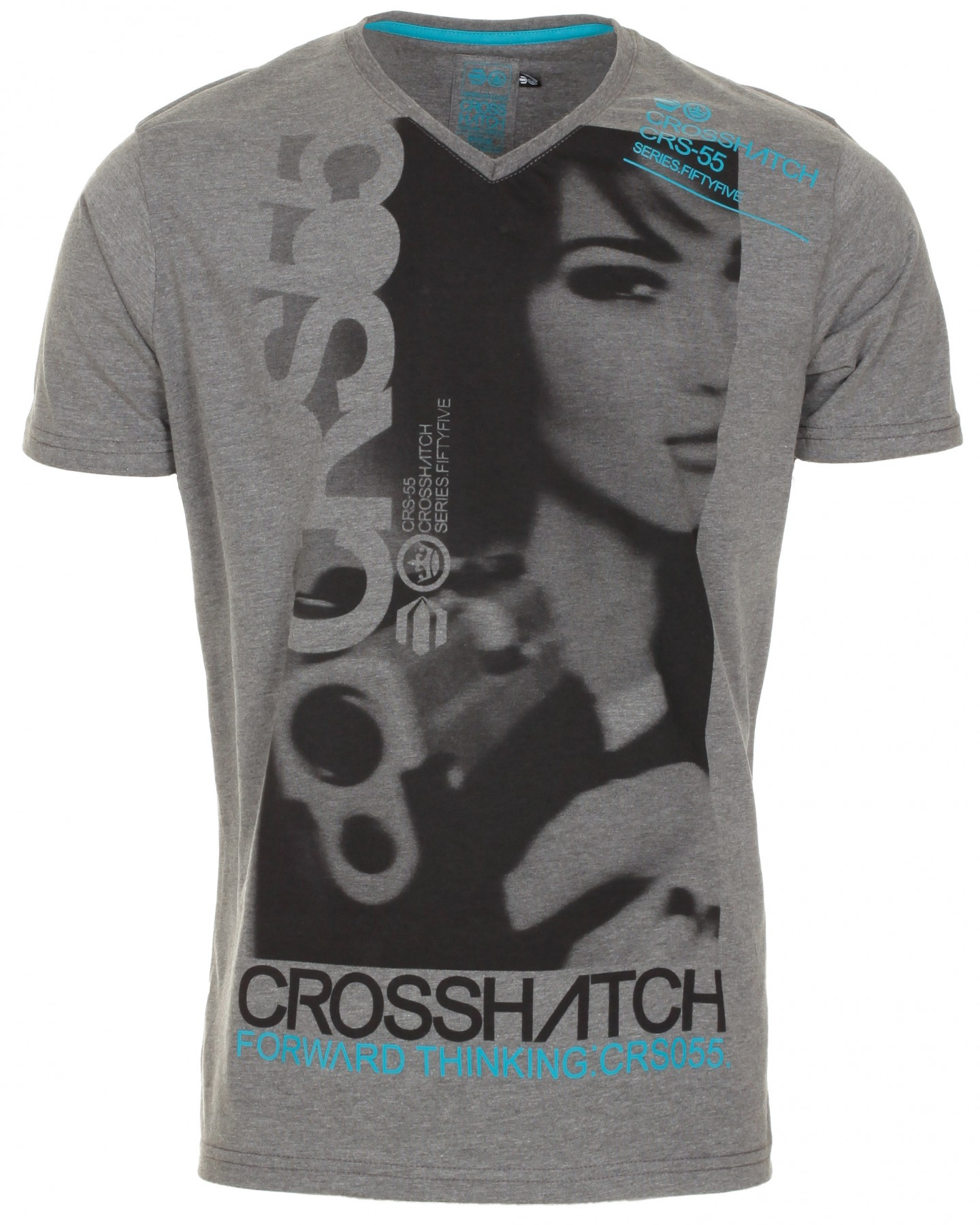 Blue-Inc-Crosshatch-Whyalla-V-Neck-T-Shirt-Dark-Grey-Marl