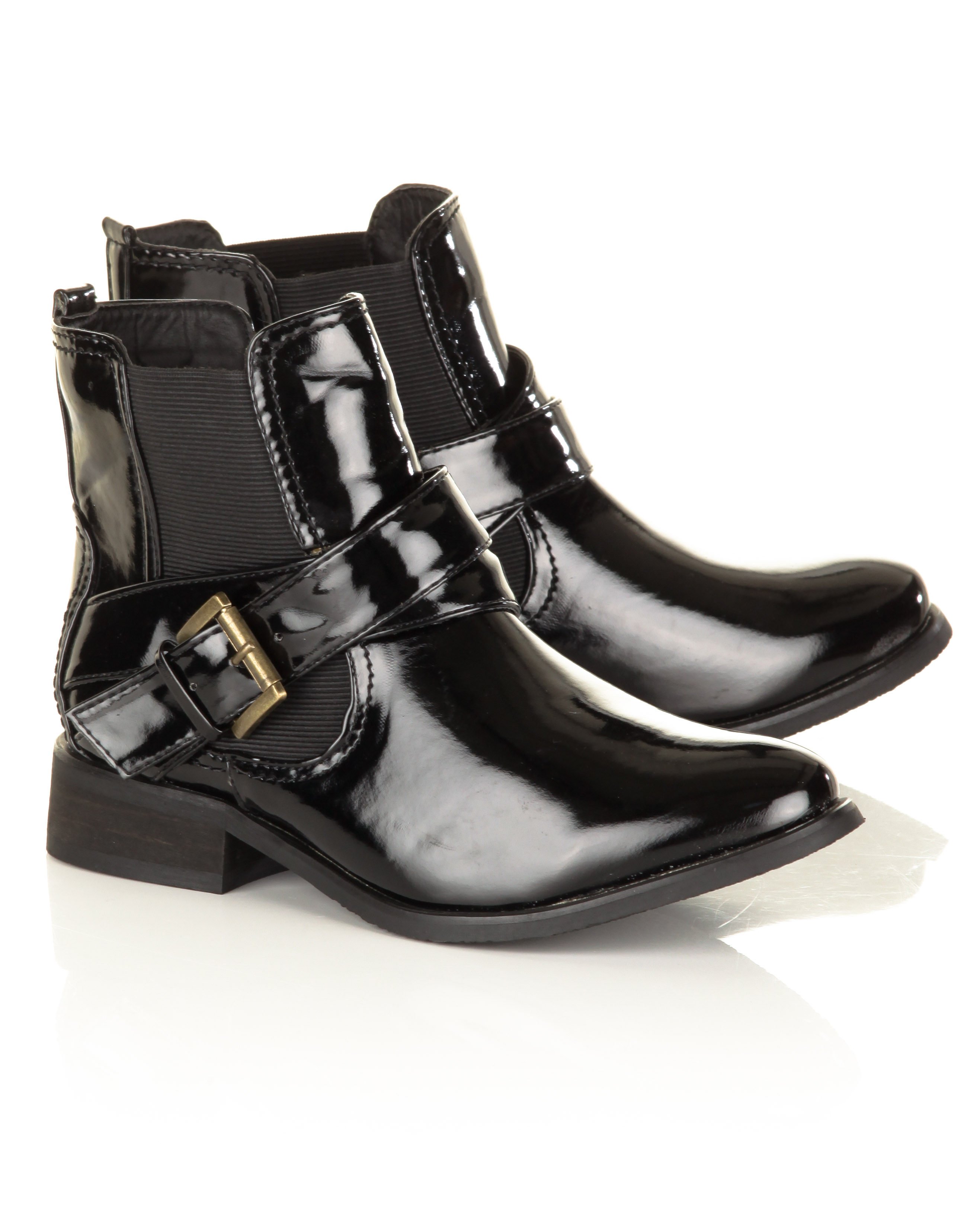 Blue-Inc-Womens-Patent-Ankle-Boot-Black