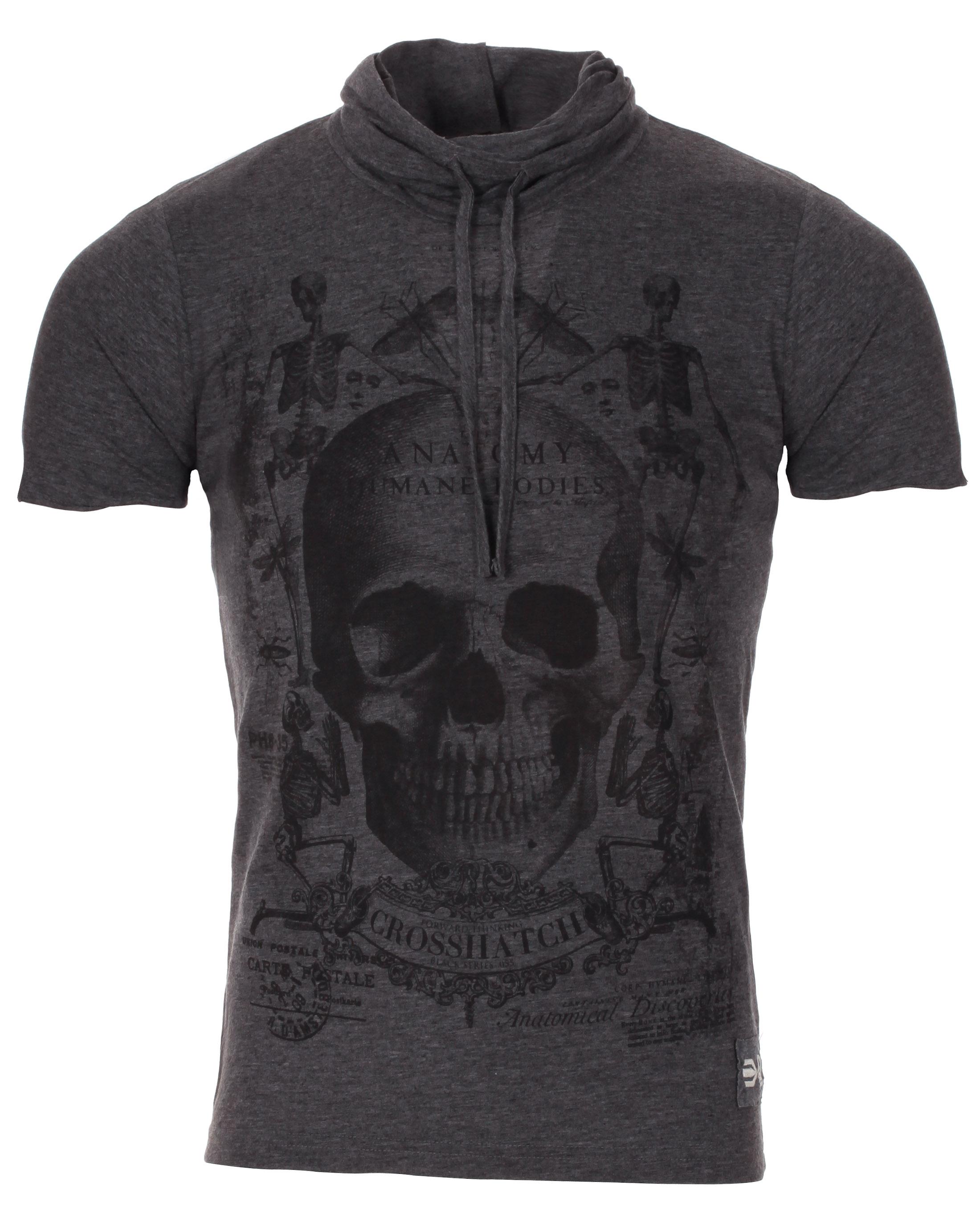 Blue-Inc-Mens-Crosshatch-Skull-Cowl-Neck-T-Shirt-Dark-Grey-New