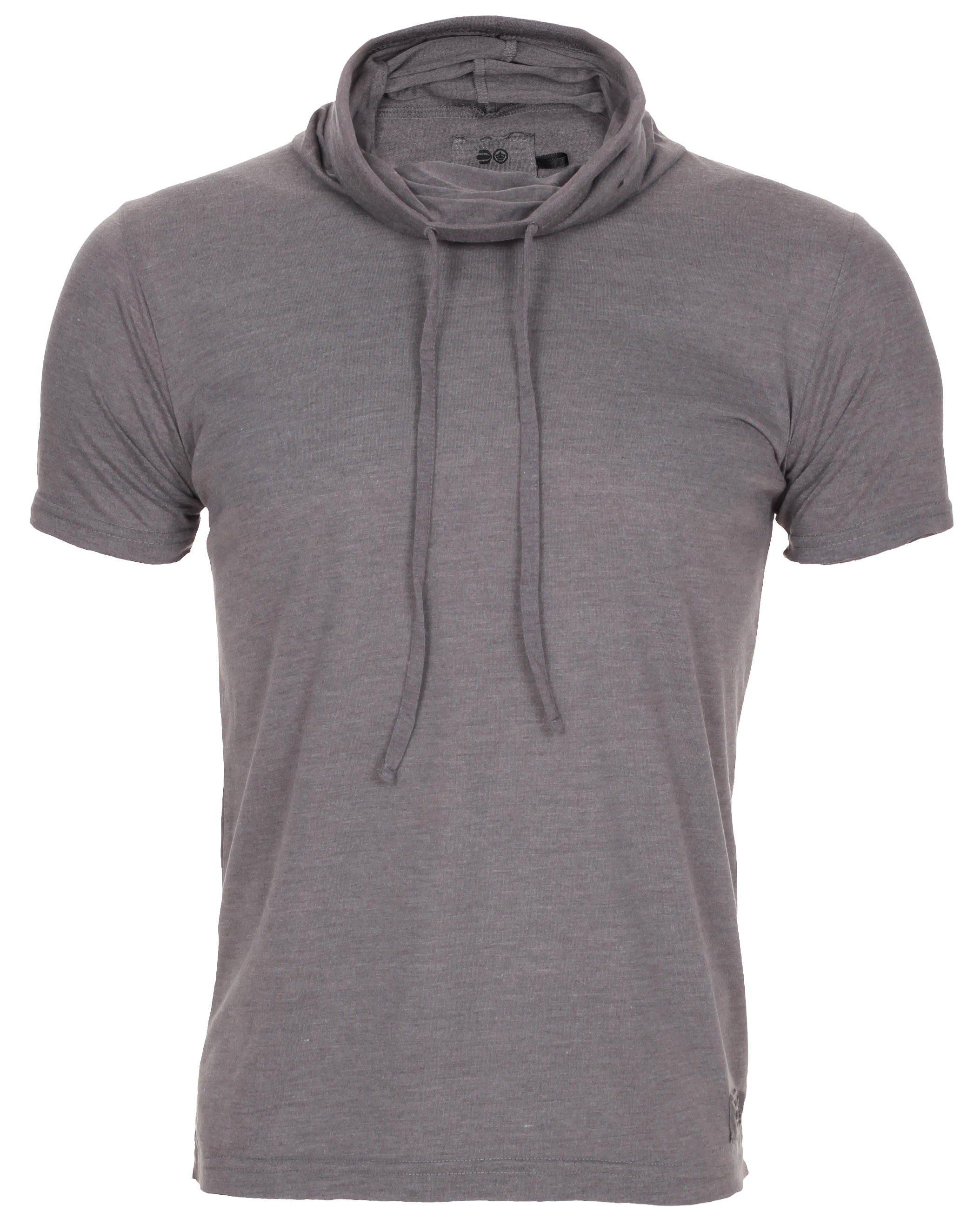 Blue-Inc-Mens-Crosshatch-Gibbel-Plain-Cowl-Neck-T-Shirt-Dark-Grey