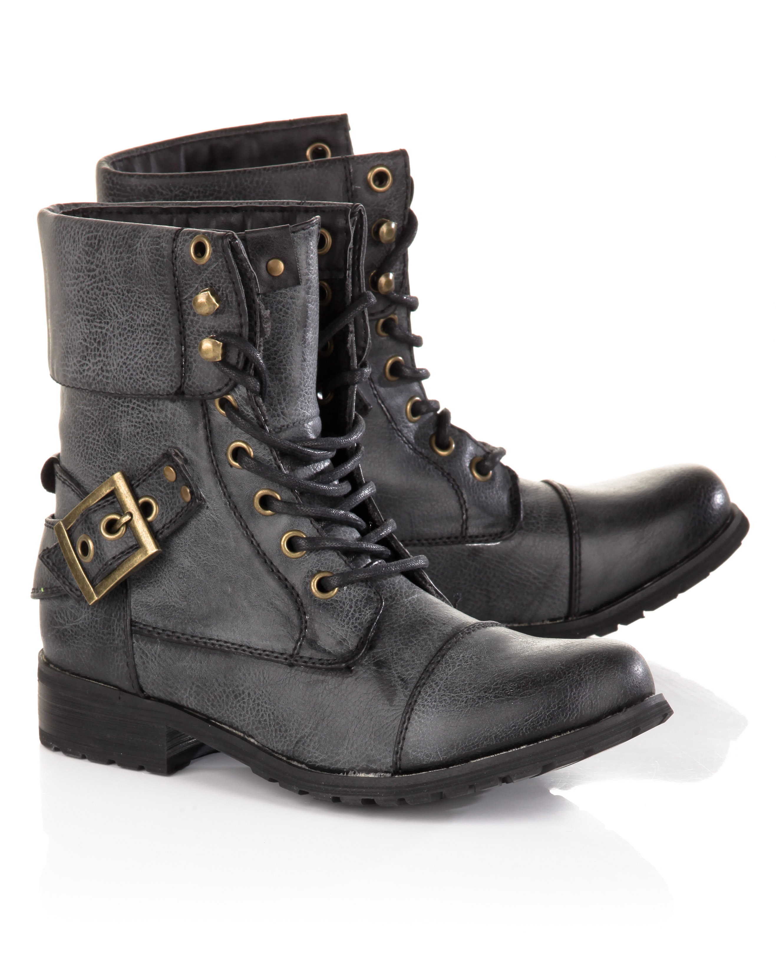 Lastest WOMENS COMBAT ARMY MILITARY BIKER FLAT LACE UP WORKER ANKLE BOOTS