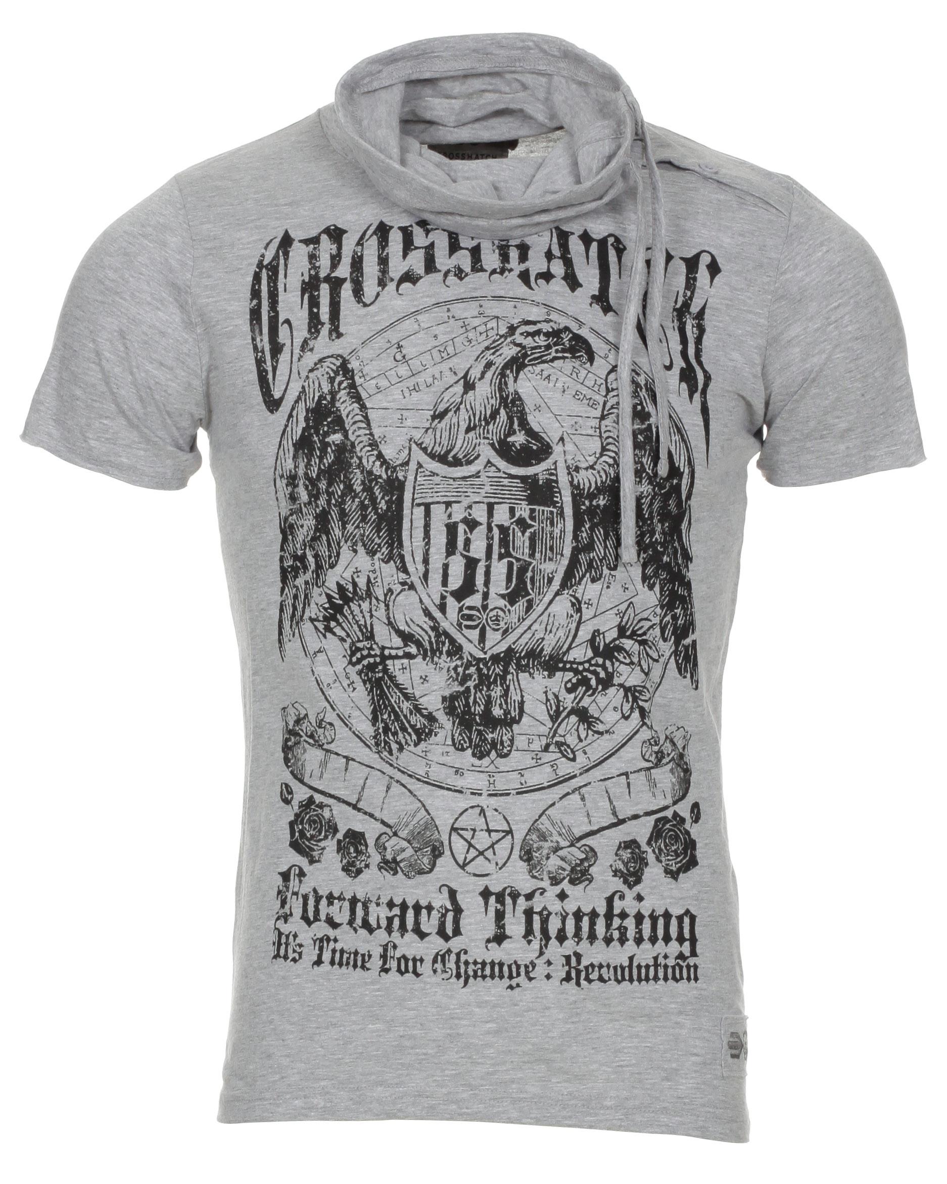 Blue-Inc-Mens-Crosshatch-Eagle-Print-Marl-Cowl-Neck-T-Shirt-Light-Grey