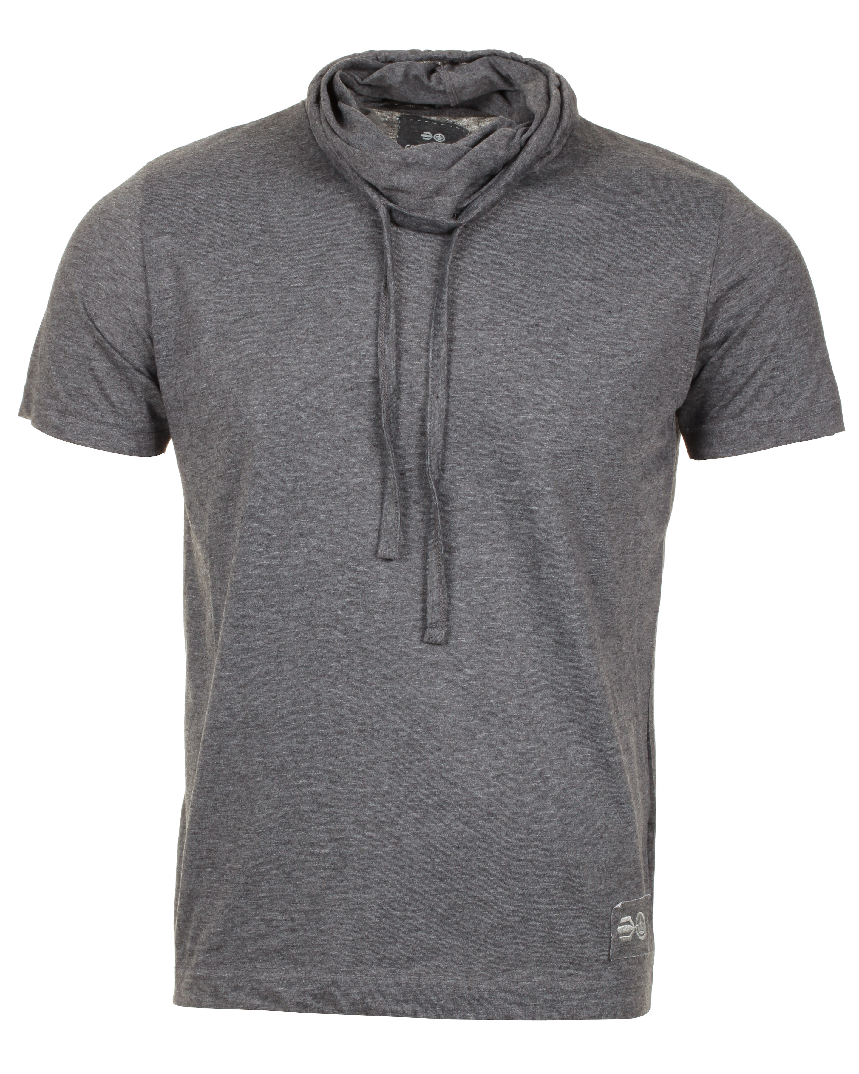 blue inc mens crosshatch marl cowl neck t shirt dark grey