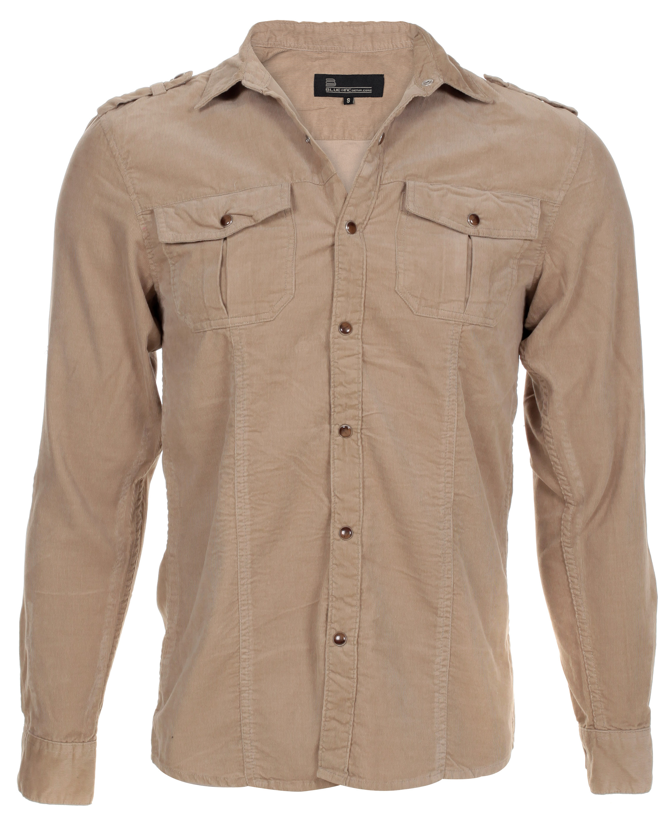 Blue-Inc-Mens-Needlecord-Military-Shirt-Stone