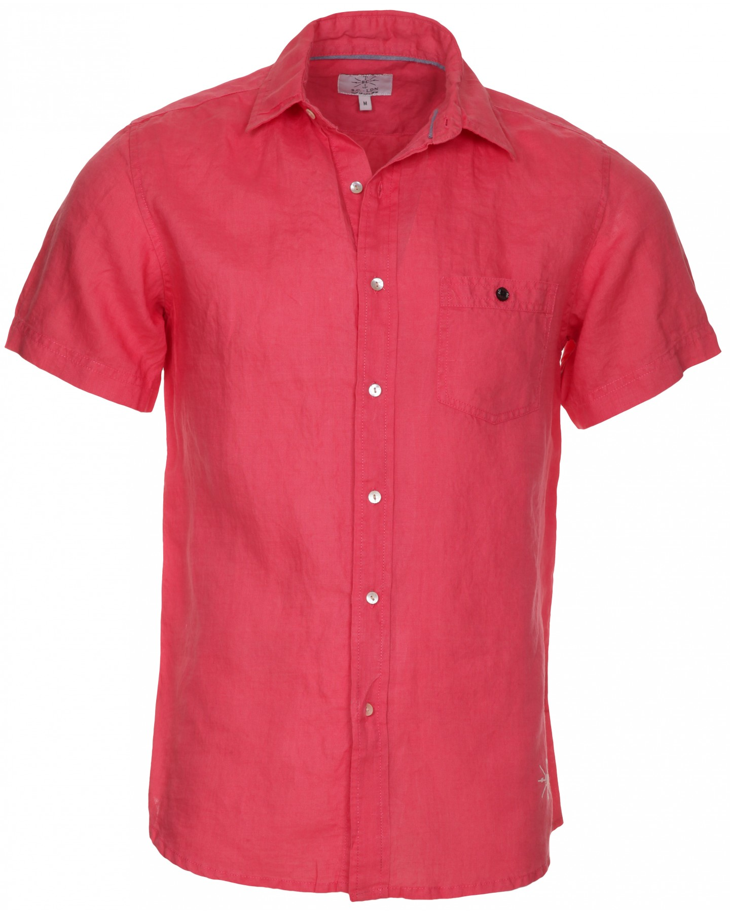 Blue inc mens bc london short sleeve linen shirt coral ebay for Coral shirts for guys