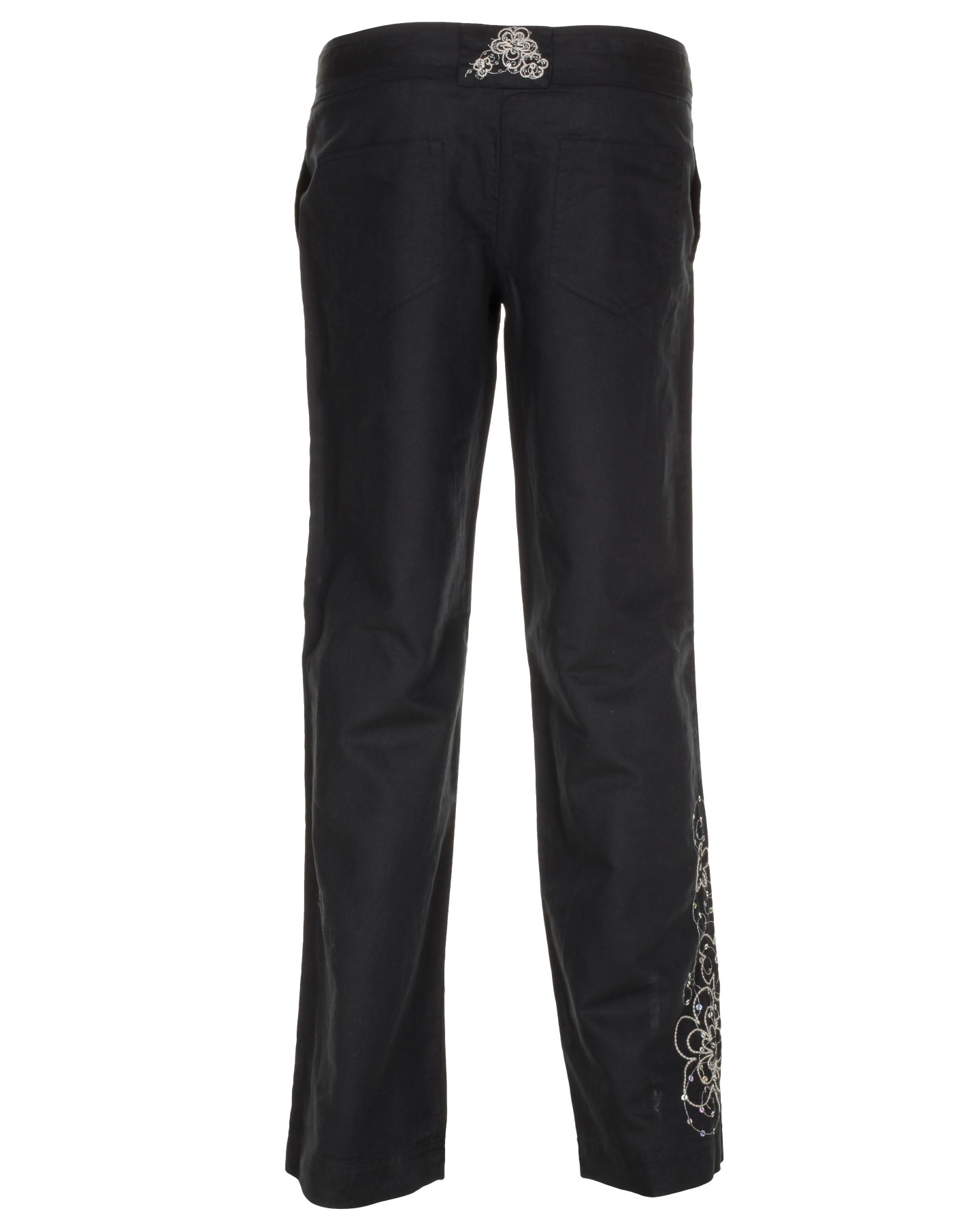 Blue-Inc-Womens-Embroidered-Linen-Trousers-Black