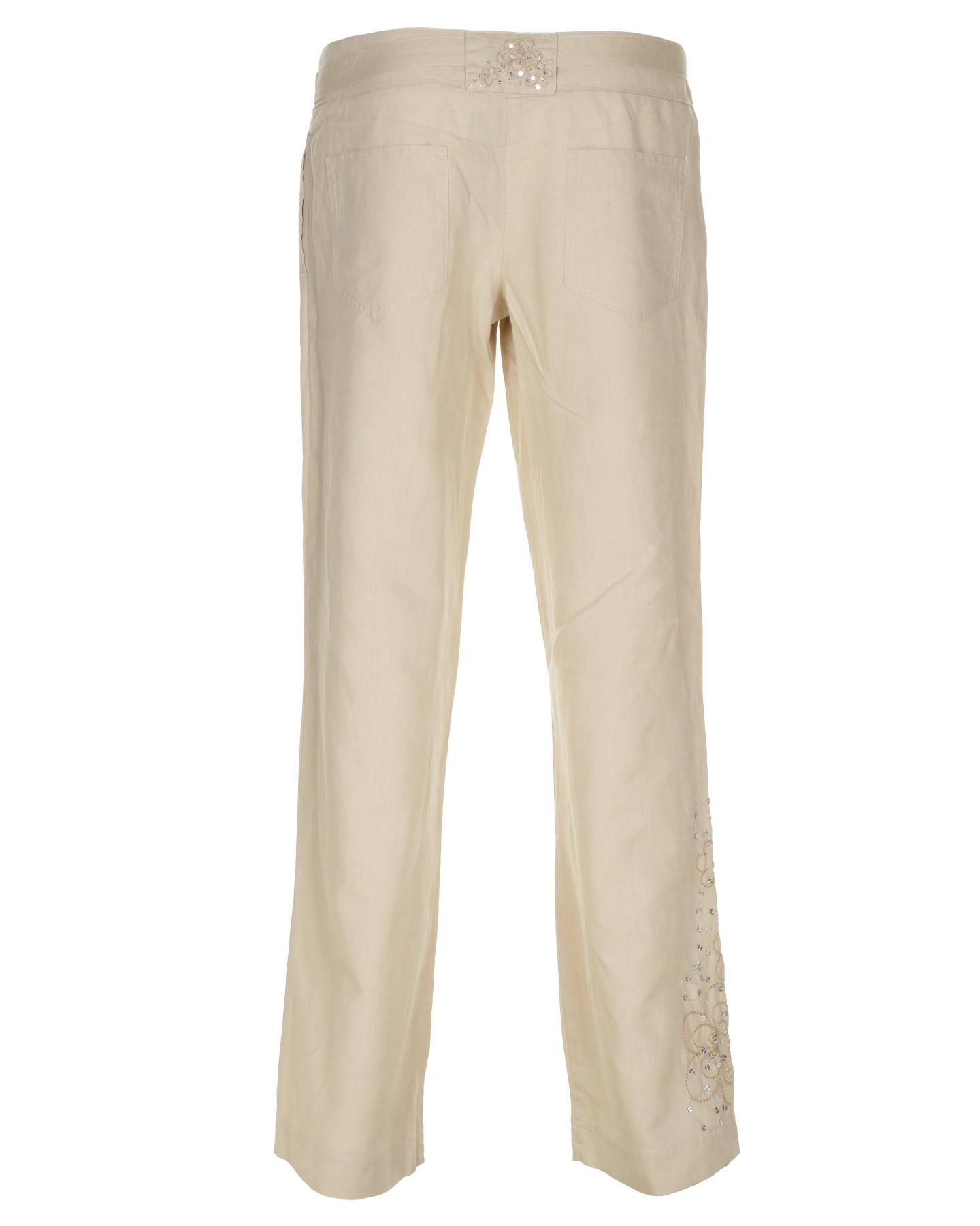 Model Democracy NEW Beige Women39s Size 14 PullOn FoldOver Linen Pants 79