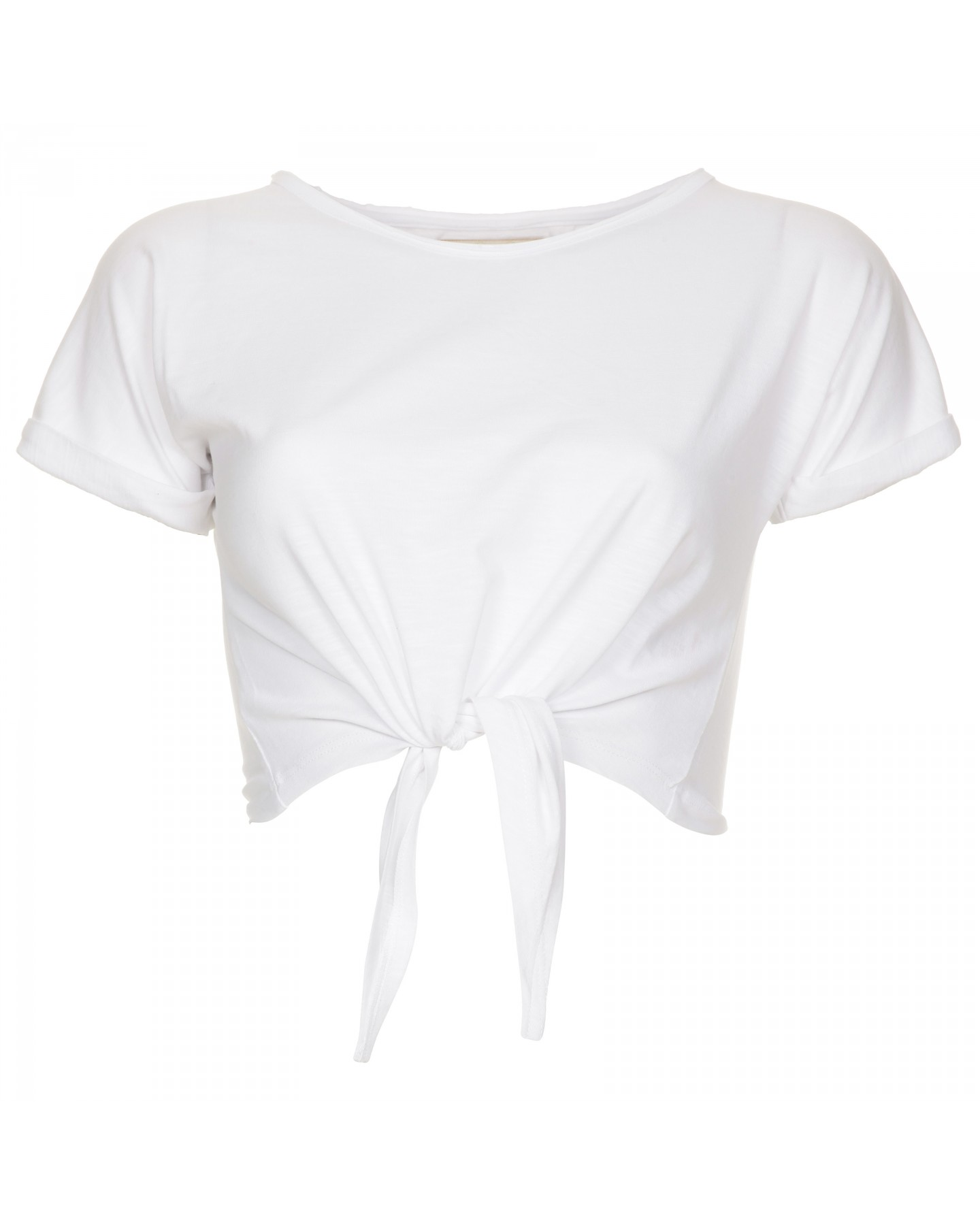 Blue-Inc-Womens-Crop-Front-Tie-up-T-Shirt-White