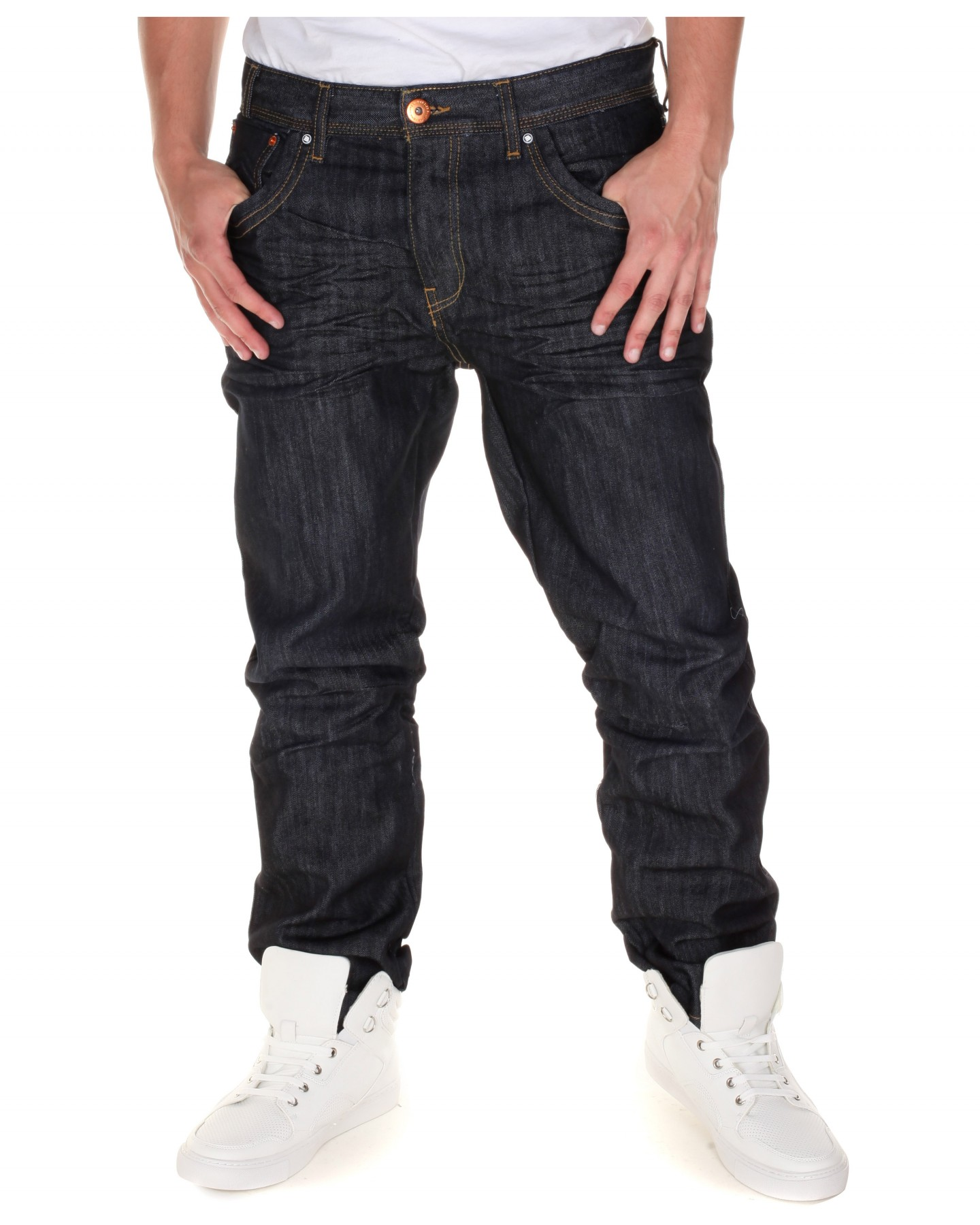 Blue-Inc-Mens-Alberto-Jeans-Raw-Wash-Crease-Effect