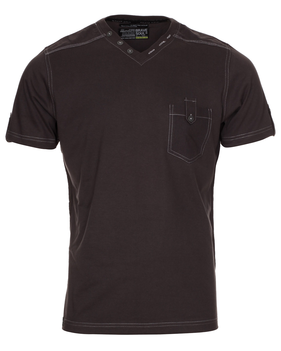Blue-Inc-Mens-Brave-Soul-V-Neck-Placket-T-Shirt-Dark-Charcoal