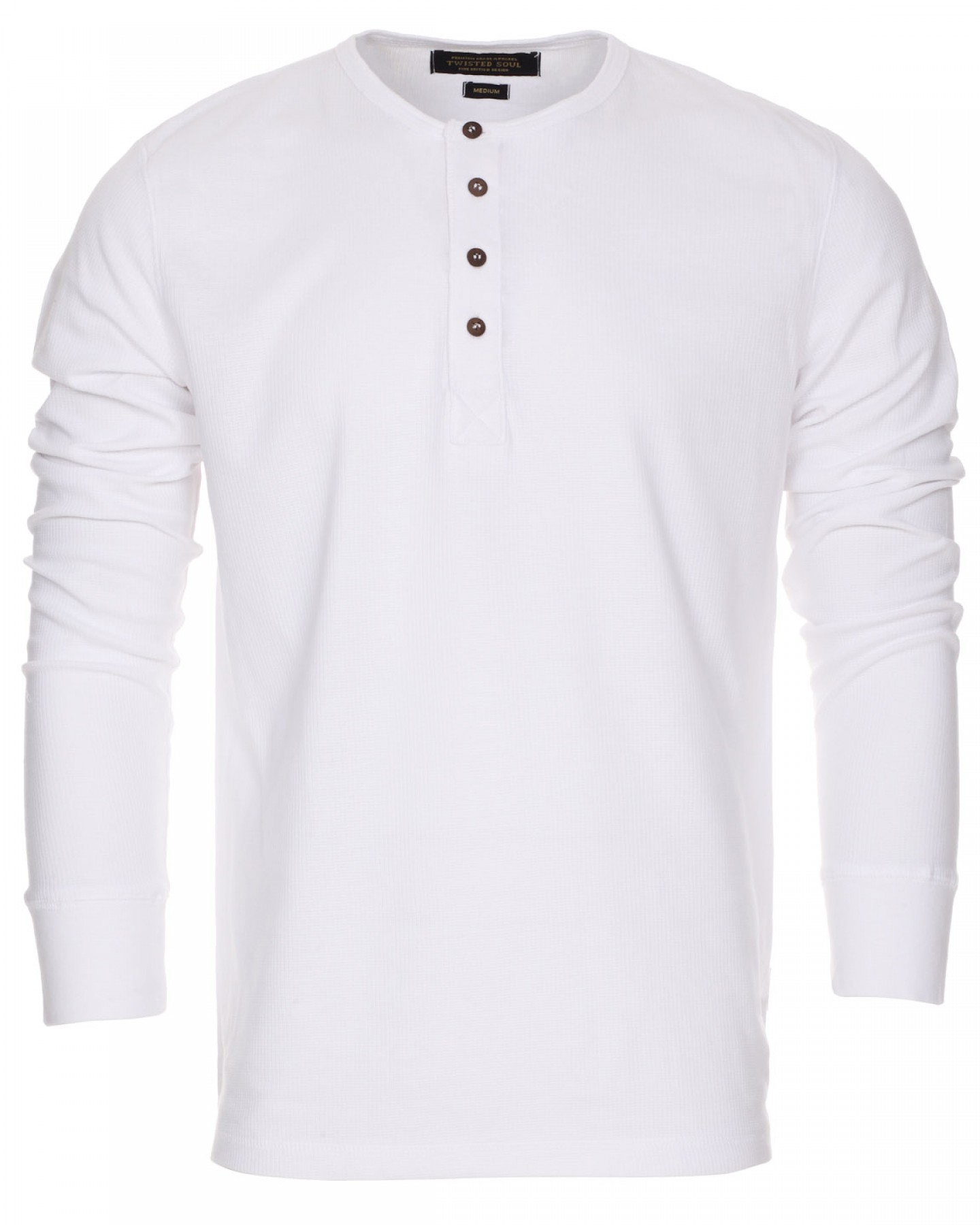 Blue-Inc-Mens-Twisted-Soul-Waffle-Grandad-Long-Sleeve-Sweat-Shirt-Top-White-New