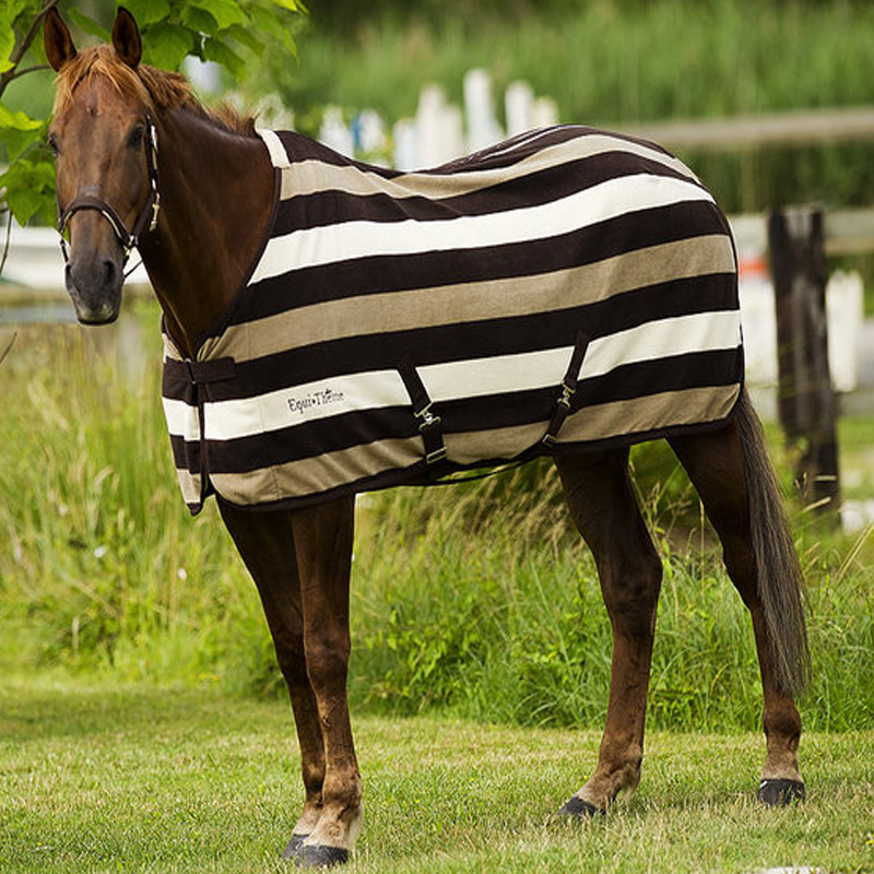 Equi Theme Stripe Horse Fleece Rug Cob Pony