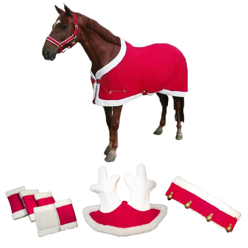 Red Santa Reindeer Horse Christmas Costume W Rug