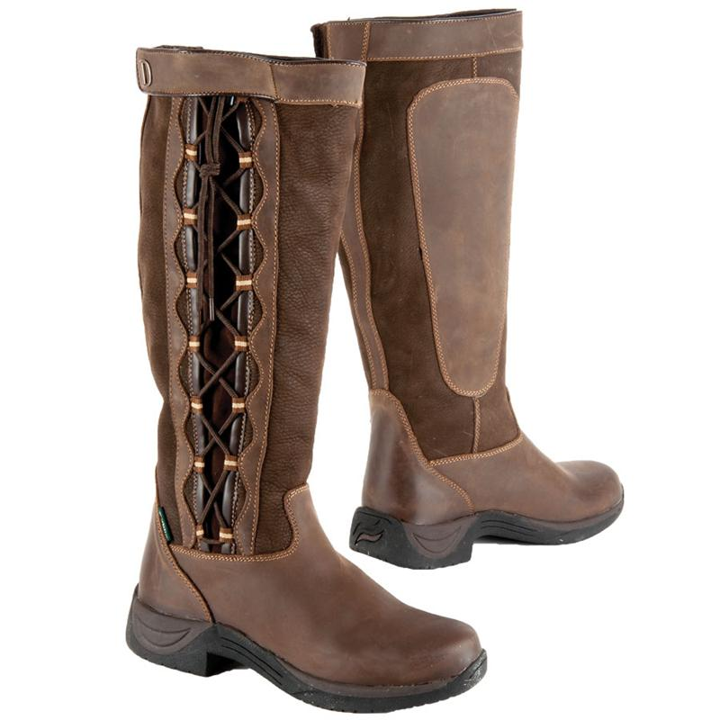 Innovative This Warm, Trendy Winter Riding Boot Features Laces And A Border Of Synthetic Fur At The Top The Boot Has A Waterproof Leather Foot And A Water Repellent Shaft Made Of Cordura And Polyurethane The Shaft Features Leather Velcro Closures For